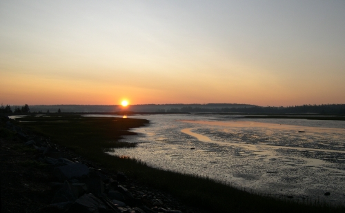 sunrise along the salt marsh trail
