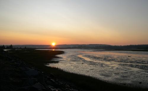 sunrise along the salt marsh trail