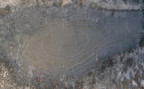 frozen mud puddle