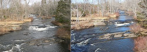 The Cow Bay River in late March 2010 (left) and late March 2012 (right)